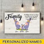Donkey Famlily Personalized three names Canvas