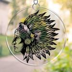 Native American  PRINTS Suncatcher HQT-41TP008