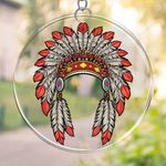Native American  PRINTS Suncatcher HQT-41TP012