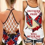 Southern Pride Will Never Die Cross Tank Top