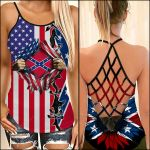 Sunflower With Confederate Flag Woman Cross Tank Top NTT-35SH014