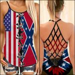 Sunflower With Confederate Flag Woman Cross Tank Top NTT-35SH015