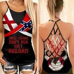 Alabama Flag With Confederate Flag Skull Woman Cross Tank Top  tdh | hqt-35va001