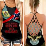 Delaware Flag With Confederate Flag Skull Woman Cross Tank Top  tdh | hqt-35va003