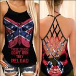 Confederate Flag Skull Woman Cross Tank Top  tdh | hqt-35sh011