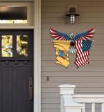 New Jersey Flag Eagle Cut Metal Sign hqt-49xt014