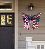 Ohio Flag Eagle Cut Metal Sign hqt-49xt015
