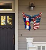 Colorado Flag Eagle Cut Metal Sign hqt-49xt024