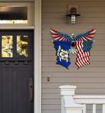 Connecticut Flag Eagle Cut Metal Sign hqt-49xt025