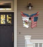 Illinois Flag Eagle Cut Metal Sign hqt-49xt029