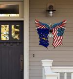 Indiana Flag Eagle Cut Metal Sign hqt-49xt030