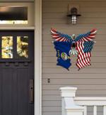Kansas Flag Eagle Cut Metal Sign hqt-49xt031