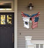 Massachusetts Flag Eagle Cut Metal Sign hqt-49xt035