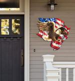Eagle Flag Cut Metal Sign hp-49hl003