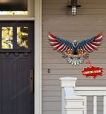 Personalized Custom Family Name Eagle Flag Cut Metal Sign hp-49hl002
