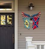 Delaware With Confederate Flag Eagle Flag Cut Metal Sign HQT01JUN49SH018
