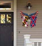 Maryland With Confederate Flag Eagle Flag Cut Metal Sign HQT01JUN49SH023