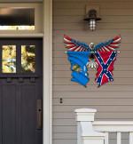 Oklahoma With Confederate Flag Eagle Flag Cut Metal Sign HQT01JUN49SH026