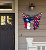 Texas With Confederate Flag Eagle Flag Cut Metal Sign HQT01JUN49SH029