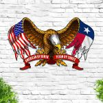 American By Birth Texan By Choice Eagle Flag Cut Metal Sign HTT03JUN21TT7