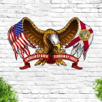 American By Birth Floridan By Choice Eagle Flag Cut Metal Sign HTT03JUN21TT8