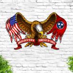 American By Birth Tennessee By Choice Eagle Flag Cut Metal Sign HTT03JUN21TT10