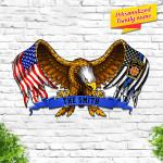 Custom Family Name Pennsylvania State Police Eagle American Flag Cut Metal Sign HTT03JUN21TT6