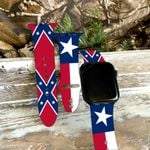 Texas Flag With Confederate Flag Print Silicone Band For Apple Watch HQT04JUN21XT2
