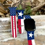 Texas Flag With America Flag Print Silicone Band For Apple Watch HQT04JUN21XT3