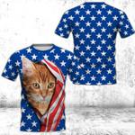 Cat 4th July 3D Full Printing Unisex Tee HQT04JUN21TT6