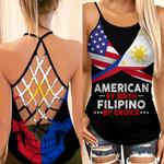 American By Birth Filipino By Choice Woman Cross Tank Top HTT14JUN21XT5