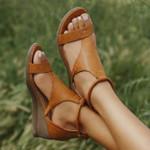 Summer 2021 Ladies Mid Heels Wedges Leather Vintage Sandals