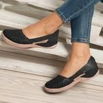 ICM™ Fashion Women Hook - Summer Slides  Shoes Leather Breathable Slippers Women Casual Flats