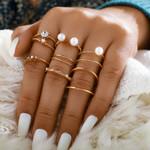 8Pcs /set Bohemian Gold Open Pearl Finger Rings