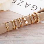Vintage Gold Color Crystal  Star Moon Rings Set