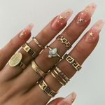 Vintage Geometric Opal Star Joint Ring Set