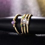 4 Pcs/set Crystal Zircon Ring Set Vintage Bohemian