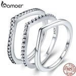 Sterling Silver Water Droplet Clear CZ Finger Rings