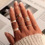 Fashion Round Hollow Geometric Rings Set