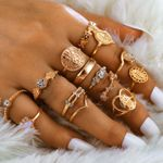 15 Pcs/set Boho Virgin Mary Gold Rings