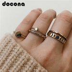 Gothic Gold Color Star Hollow Geometric Rings Set