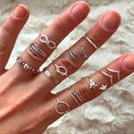 12 Pcs/Set Fashion Silver Color Ring