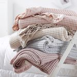 Pure Cotton Waffle Sofa Bed Lace Towel Blanket