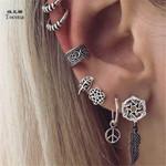 7pair/Set Antique Silver Color Leaf Earrings