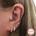 Simple Threaded Triangle Rhombus Zircon Small Stud Earrings