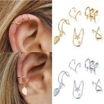 5Pcs/Set Ear Cuff Gold Leaves Non-Piercing Ear Clips