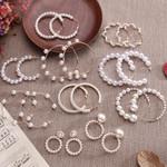 Simple Plain Gold Color Metal Pearl Hoop Earrings