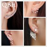 Fashion Angel Wings Leaf Feather Flowers Stud Earrings