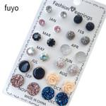 12 pairs/set Crystal Fashion Earrings Set