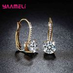 Bright Crystal Gold Color Silver Earrings Fashion